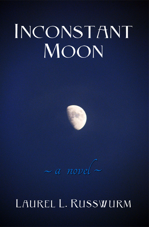 A gibbous moon against a dark blue sky forms the central image on the Inconstant Moon front Cover Art