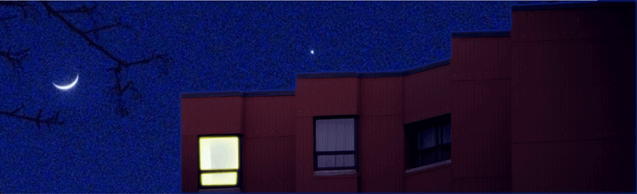 Residence apartment building in the moonlight, one light on