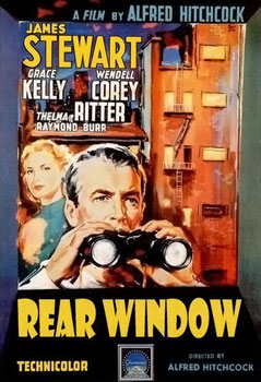 Movie Poster art showing Jimmy Stewart and binoculars