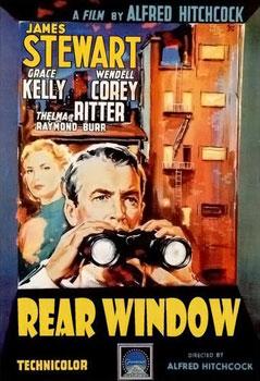 Movie Poster art showing Jimmy Stewart and binoculars