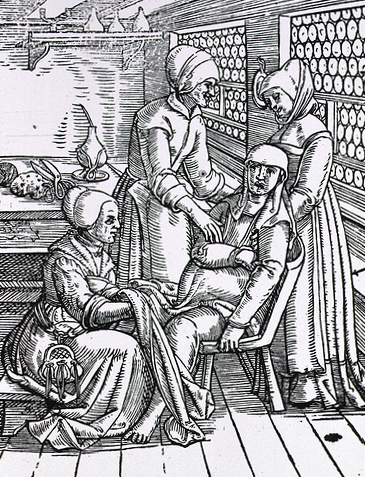 Woodcut illustrates three midwives assisting a woman in childbirth.