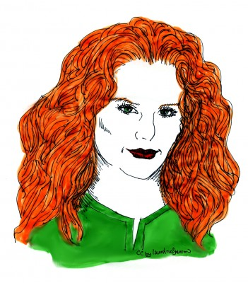 pen and ink line drawing with marker colour - cc by laurelrusswurm