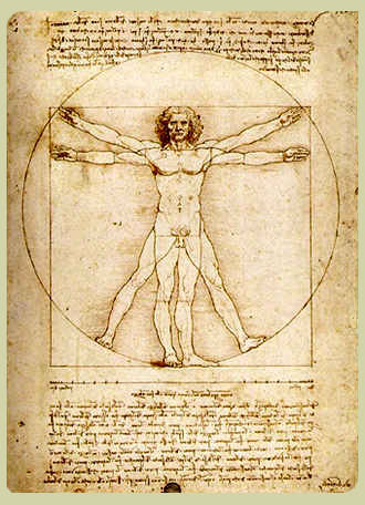 Da Vinci's original journal with his famous drawing illustrating the text