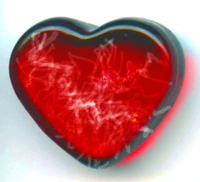 red glass heart shattering