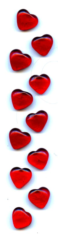 red glass hearts running down the side of the page