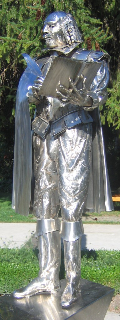 Silver statue of Shakespeare located outside at the Ontario Stratford Festival on a sunny day