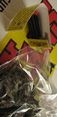 tea leaves in a baggie and matches simulate marijuana